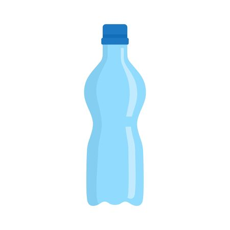 Water plastic bottle icon, flat style