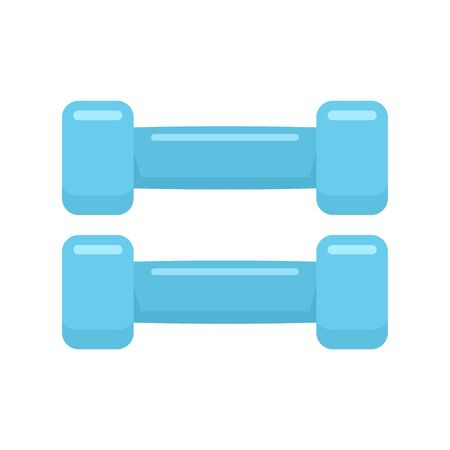 Rubber fitness dumbbell icon, flat style