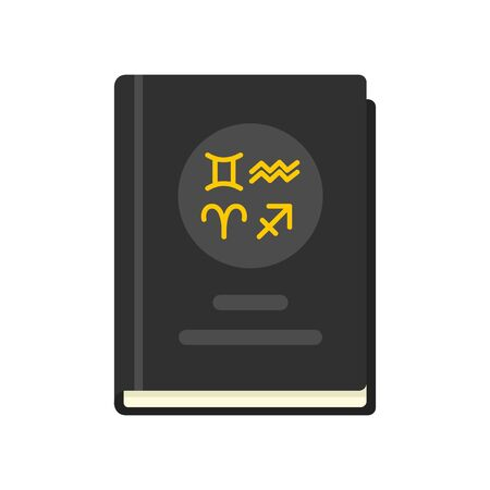 Magic witch book icon, flat style
