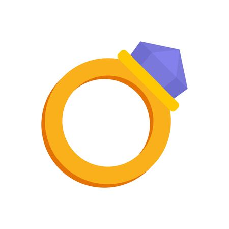 Gold magic ring icon. Flat illustration of gold magic ring vector icon for web design