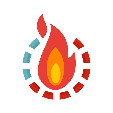 Fire burn calories icon, flat style