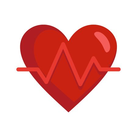 Heart rate icon, flat style