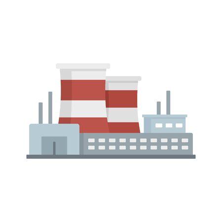Power refinery plant icon, flat style Ilustração