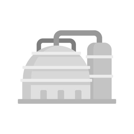 Platform refinery plant icon, flat style