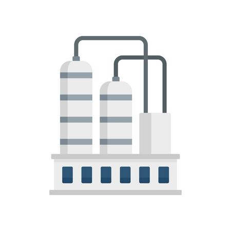 Industrial refinery factory icon. Flat illustration of industrial refinery factory vector icon for web design