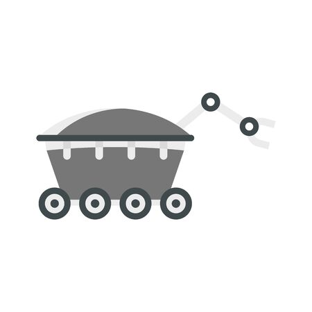 Space rover icon, flat style