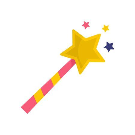 Magic stick icon, flat style