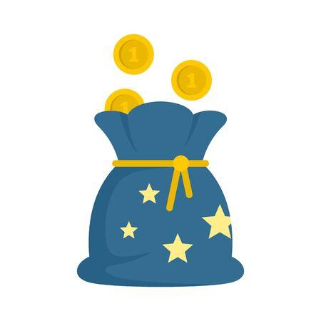 Magic money bag icon, flat style