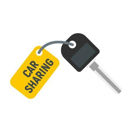 Car sharing key icon, flat style