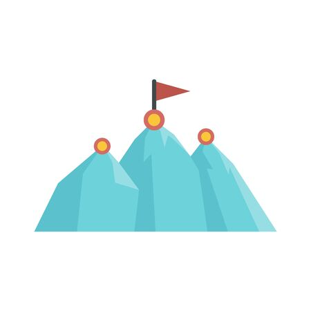 Business mountains target icon, flat style