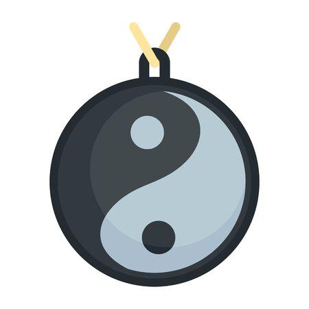 Yin yang medallion icon, flat style  イラスト・ベクター素材