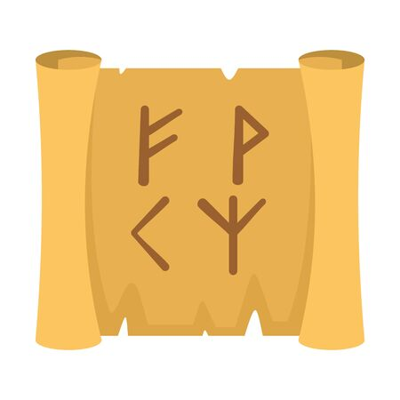 Magic old papyrus icon, flat style Çizim