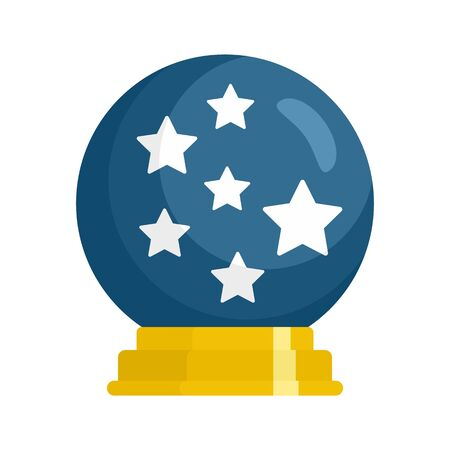 Magic star ball glass icon, flat style