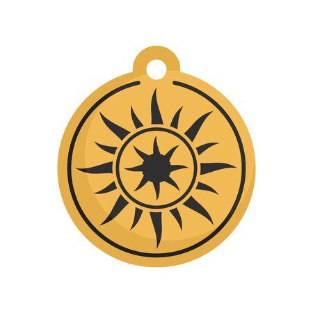Magic sun medallion icon, flat style Ilustração