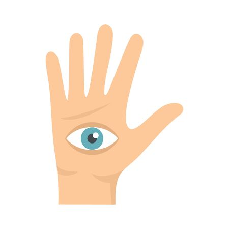 Eye in hand icon. Flat illustration of eye in hand vector icon for web design Çizim