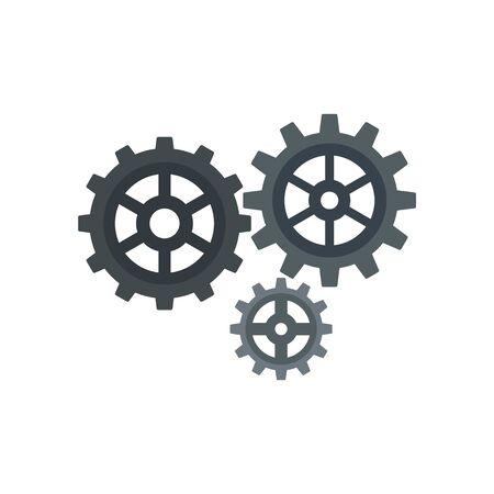 Gear cog icon, flat style