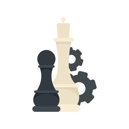 Chess logic gear icon, flat style Illusztráció