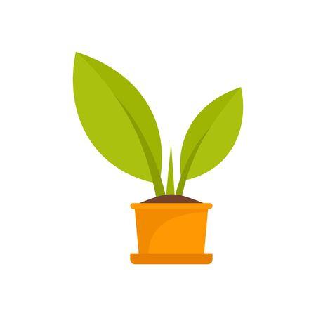 Bio plant pot icon, flat style