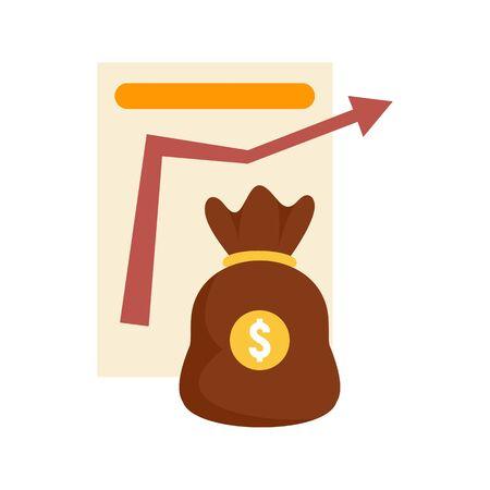 Money bag management icon, flat style