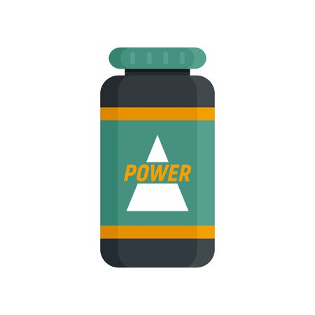 Power sport nutrition icon, flat style