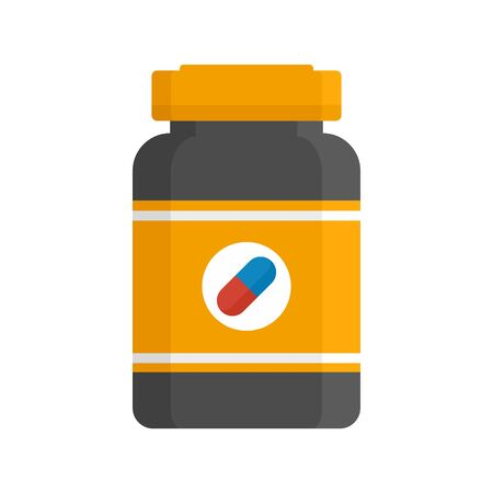 Capsule sport nutrition icon, flat style
