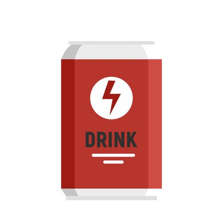 Energy drink tin can icon, flat style