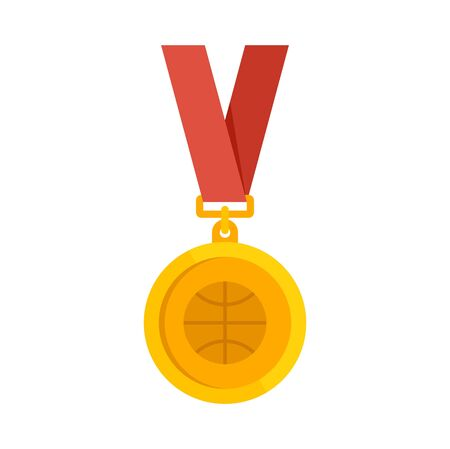 Basketball gold medal icon, flat style 向量圖像