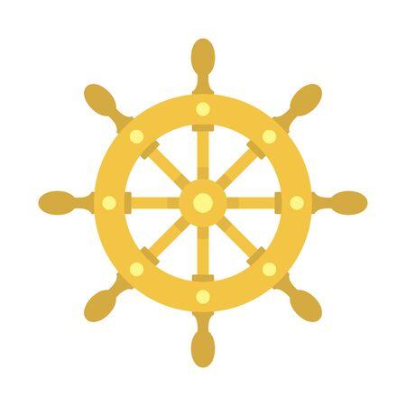 Icône de roue de navire, style plat