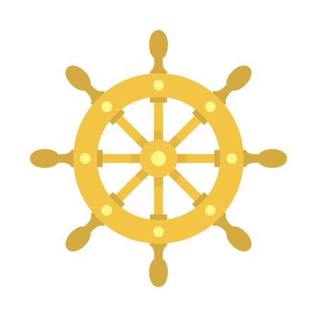 Ship wheel icon, flat style