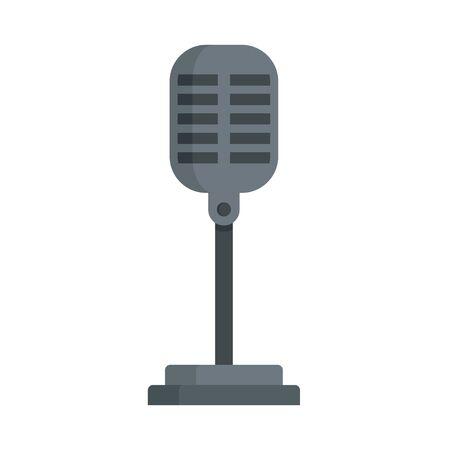 Retro microphone icon, flat style Illusztráció