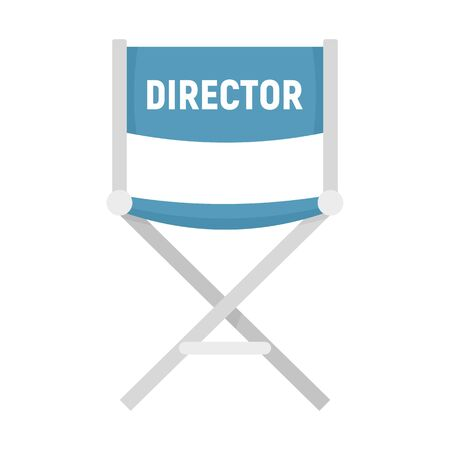 Film director chair icon, flat style