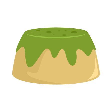 Matcha cake icon, flat style