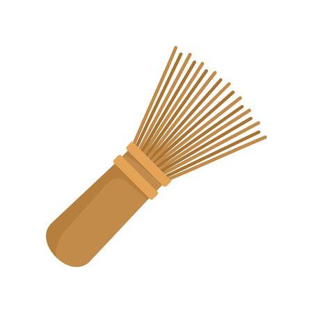 Matcha tea whisk icon, flat style Çizim