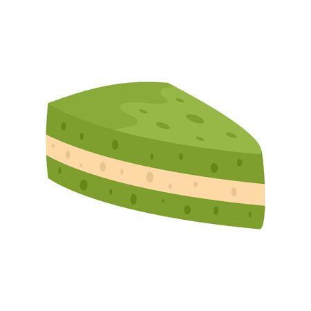 Green matcha cake icon, flat style