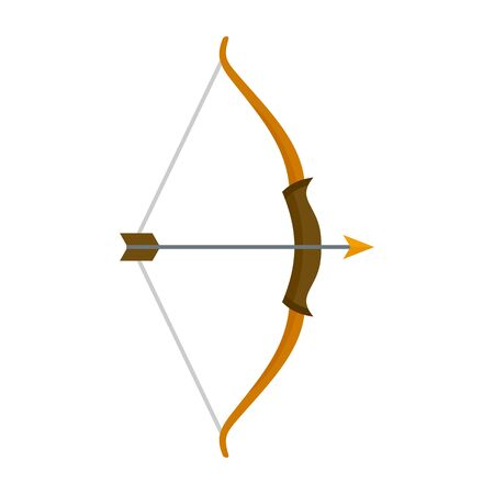 Archer bow icon, flat style