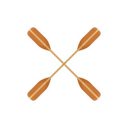 Crossed kayak paddle icon, flat style 向量圖像