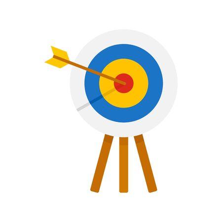 Archery wood target icon, flat style