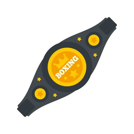 Boxing gold belt icon. Flat illustration of boxing gold belt vector icon for web design