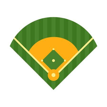 Baseball field on, flat style