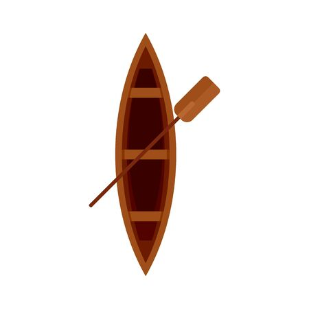 Top view wood boat icon, flat style 일러스트