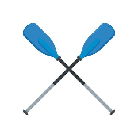 Metal plastic oars icon, flat style