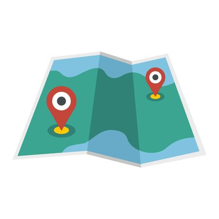Paper map pin icon, flat style
