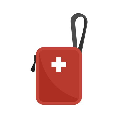 Bike first aid kit icon, flat style