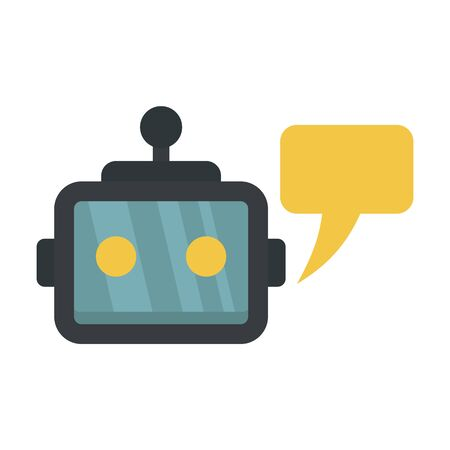 Chatbot service icon, flat style