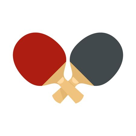 Crossed table tennis paddle icon, flat style