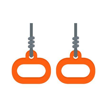 Gymnastics rings icon, flat style