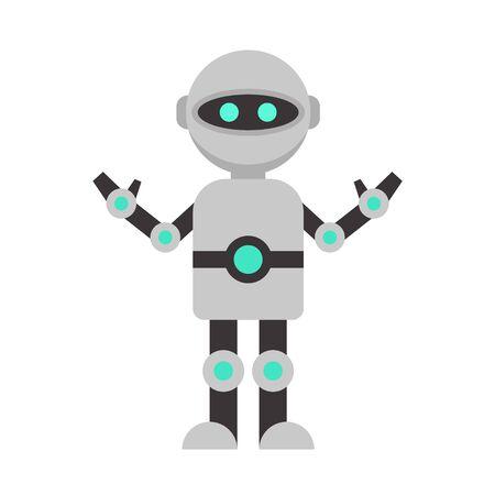Futuristic humanoid icon, flat style