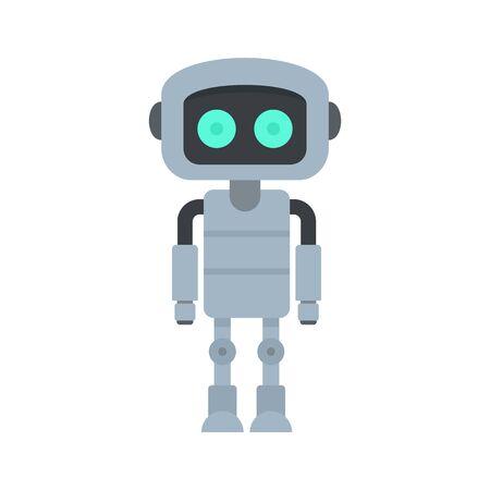 Steel robot icon, flat style