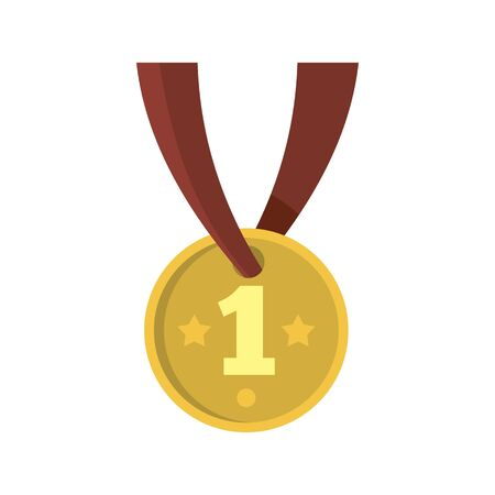 Gymnastics gold medal icon, flat style Иллюстрация