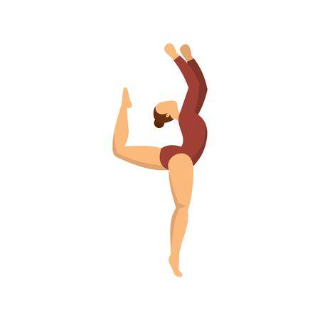 Girl rhythmic gymnastics icon, flat style